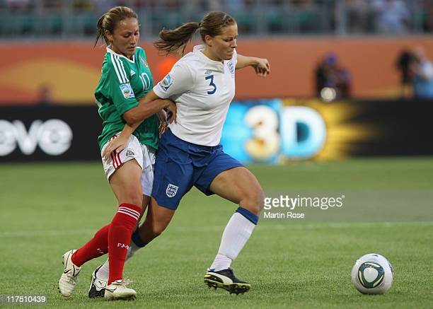 Dinora Garza of Mexico and Rachel Unitt of England battle for the ball during the FIFA Women's World Cup 2011 Group B match between Mexico and...