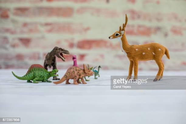 dinosaur collection versus xmas reindeer