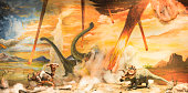 Dinosaurs escaping or dying because of heat and fire due to a big meteorite crash