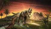 dinosaur flat art night mountain landscape with stars and bright moon
