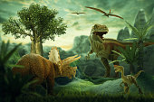 Fantasy Landscape with dinosaur, 3d rendered landscape with mountains