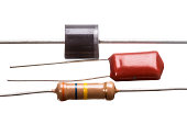 Diode, capacitor and resistor  isolated on white background