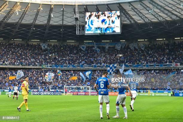 Diogo Barbosa and Alisson of Cruzeiro celebrates a scored goal against Flamengo during a match between Cruzeiro and Flamengo as part of Brasileirao...