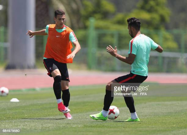 Diogo Dalot and Pedro Delgado of Portugal in action during their training Session at Kang Chang Hak Stadium on May 19 2017 in Jeju South Korea