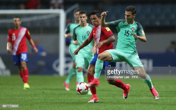 Diogo Dalot of Portugal battles with Barlon Sequeira of Costa Rica during the FIFA U20 World Cup Korea Republic 2017 group C match between Costa Rica...