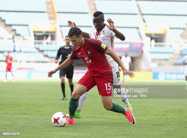 Diogo Dalot of Portugal battles with Prosper Chiluya of Zambia during the FIFA U20 World Cup Korea Republic 2017 group C match between Zambia and...