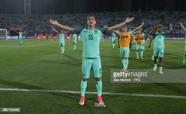 Diogo Dalot of Portugal celebrates victory over Korea during the FIFA U20 World Cup Korea Republic 2017 Round of 16 match between Korea Republic and...