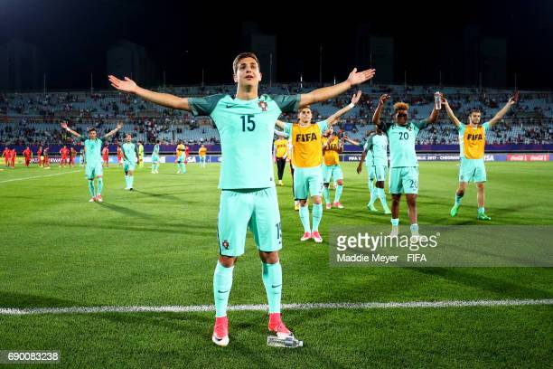 Diogo Dalot of Portugal leads his team in celebration after defeating Korea Republic 31 in the FIFA U20 World Cup Korea Republic 2017 Round of 16...
