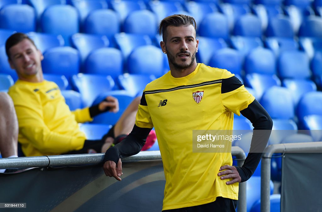 Diogo Figueiras looks on during a Sevilla training session on the eve of the UEFA Europa League Final against Liverpool at St. Jakob-Park on May 17, 2016 in Basel, Switzerland.