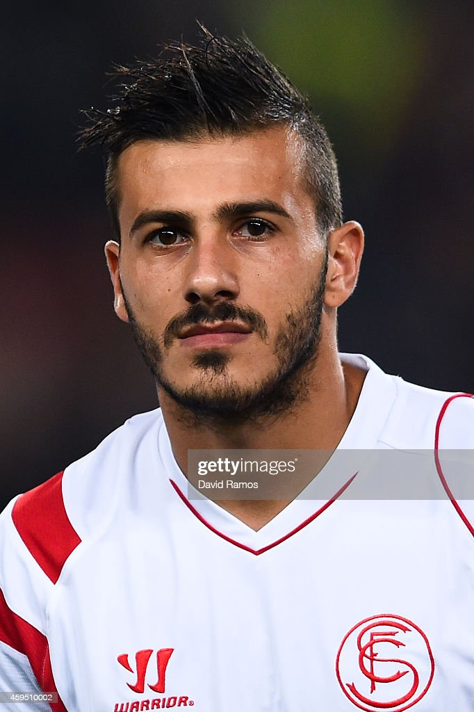 Diogo Figueiras of Sevilla FC during the La Liga mach between FC Barcelona and Sevilla FC at Camp Nou on November 22, 2014 in Barcelona, Spain.