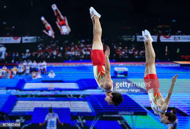 Diogo Ganchinho and Diogo Abreu of Portugal compete during the Trampoline Synchronized Men Qualification of The World Games at Centennial Hall on...