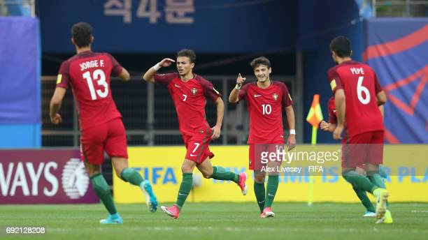 Diogo Goncalves of Portugal celebrates after scoring their second goal during the FIFA U20 World Cup Korea Republic 2017 Quarter Final match between...