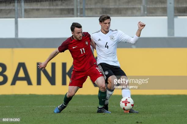 Diogo Jota of Portugal in action against Niklas Stark of Germany during the U21 International Friendly match between Germany U21 and Portugal U21 at...
