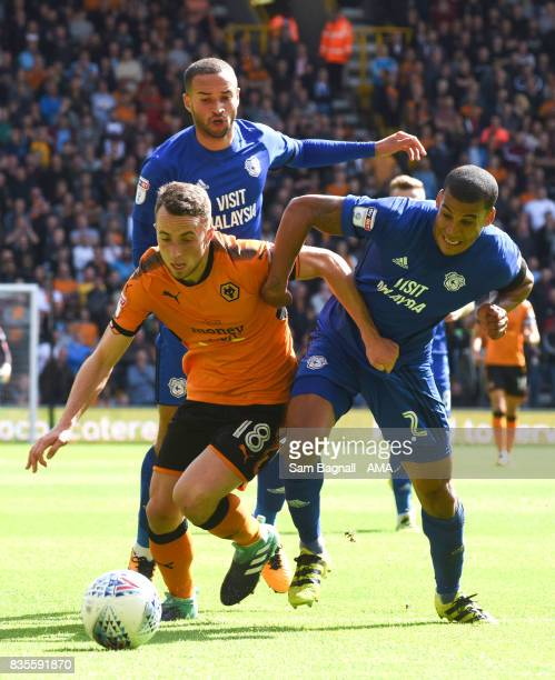 Diogo Jota of Wolverhampton Wanderers and Lee Peltier of Cardiff City during the Sky Bet Championship match between Wolverhampton and Cardiff City at...