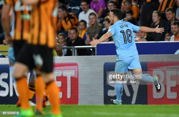 Diogo Jota of Wolverhampton Wanderers celebrates after scoring a goal to make it 12 during the Sky Bet Championship match between Hull City and...