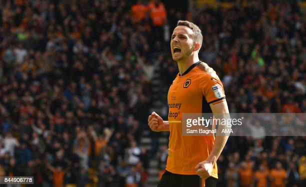 Diogo Jota of Wolverhampton Wanderers celebrates after scoring a goal to make it 10 during the Sky Bet Championship match between Wolverhampton and...