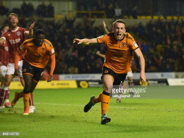 Diogo Jota of Wolverhampton Wanderers celebrates after scoring a goal to make it 21 during the Sky Bet Championship match between Wolverhampton and...