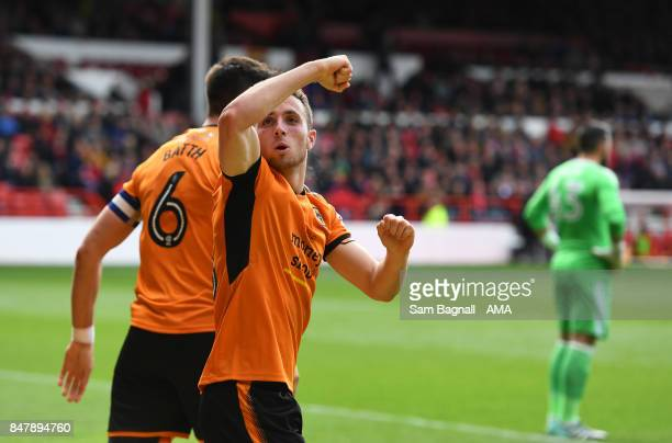 Diogo Jota of Wolverhampton Wanderers celebrates after scoring a goal to make it 01 during the Sky Bet Championship match between Nottingham Forest...