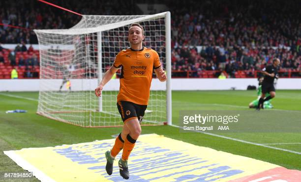 Diogo Jota of Wolverhampton Wanderers celebrates after scoring a goal to make it 12 during the Sky Bet Championship match between Nottingham Forest...