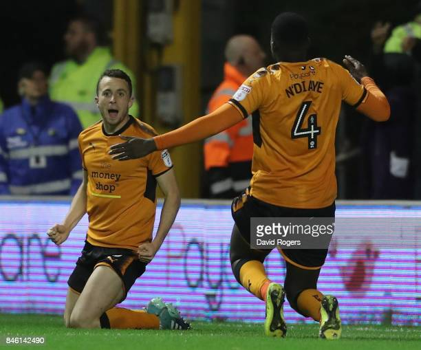 Diogo Jota of Wolverhampton Wanderers celebrates after scoring their second goal during the Sky Bet Championship match between Wolverhampton and...