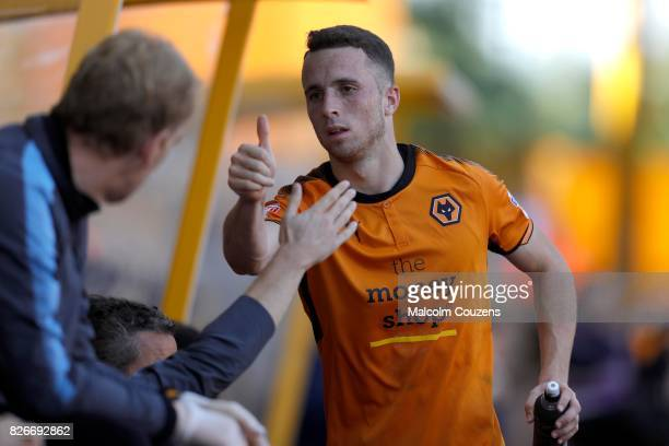 Diogo Jota of Wolverhampton Wanderers reacts during the Sky Bet Championship match between Wolverhampton Wanderers and Middlesbrough at Molineux on...