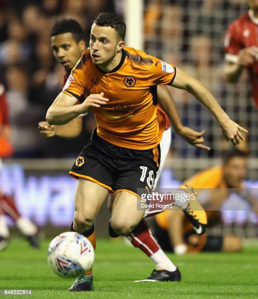 Diogo Jota of Wolverhampton Wanderers runs with the ball during the Sky Bet Championship match between Wolverhampton Wanderers and Bristol City at...