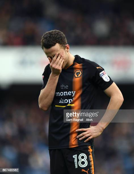 Diogo Jota of Wolverhampton Wanderers stands dejected after the Sky Bet Championship match between Queens Park Rangers and Wolverhampton at Loftus...