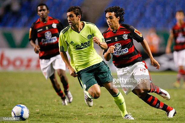 Diogo of Flamengo struggles for the ball with Danilo of Palmeiras during a match as part of Serie A at Engenhao Stadium on September 25 2010 in Rio...