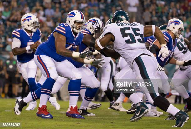 Dion Dawkins of the Buffalo Bills blocks Brandon Graham of the Philadelphia Eagles in the preseason game at Lincoln Financial Field on August 17 2017...