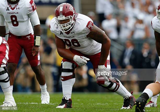 Dion Dawkins of the Temple Owls in action during the game against the Penn State Nittany Lions on September 17 2016 at Beaver Stadium in State...