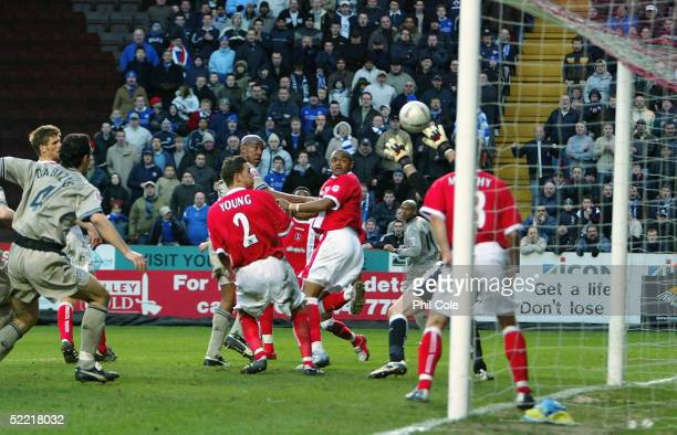 Dion Dublin of Leicester City scores a goal in the final minutes to win the game during the FA Cup Fifth Round match between Charlton Athletic and...