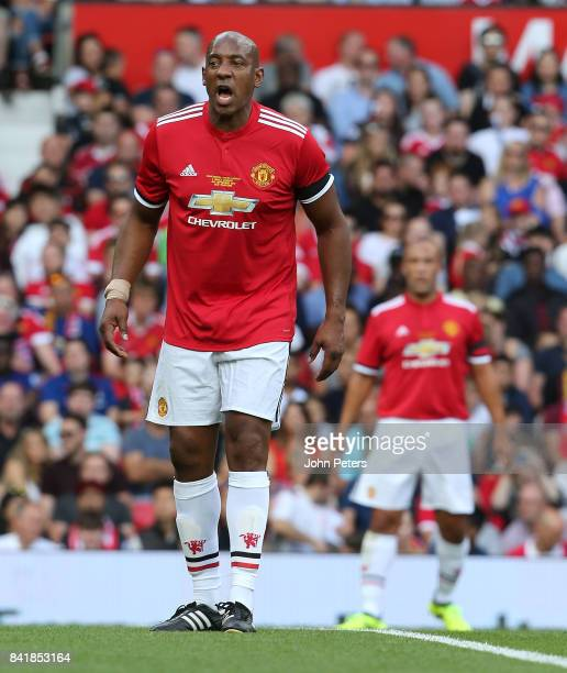 Dion Dublin of Manchester United Legends in action during the MU Foundation charity match between Manchester United Legends and Barcelona Legends at...
