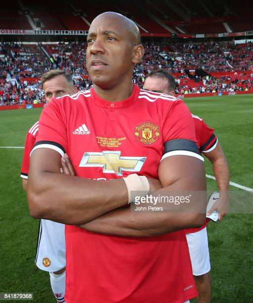 Dion Dublin of Manchester United Legends poses after the MU Foundation charity match between Manchester United Legends and Barcelona Legends at Old...