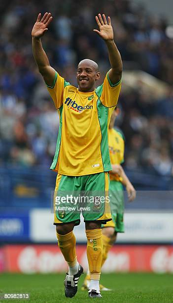 Dion Dublin of Norwich thanks the fans after his last game during the CocaCola Championship match between Sheffield Wednesday and Norwich City at...