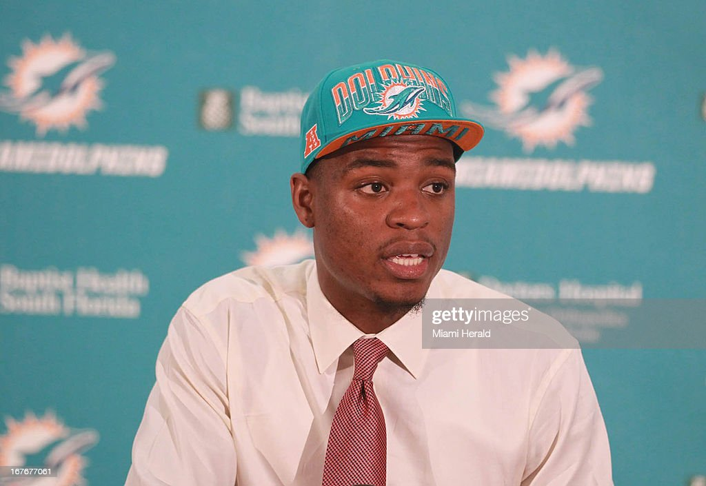 Dion Jordan during a news conference introducing the Miami Dolphins' first-round draft pick on Saturday, April 27, 2013, at the team's training facility in Miami, Florida.