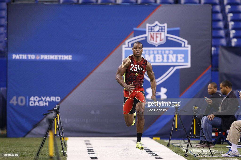 Dion Jordan of Oregon runs the 40-yard dash during the 2013 NFL Combine at Lucas Oil Stadium on February 25, 2013 in Indianapolis, Indiana.