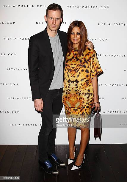 Dion Lee and Christine Centenera pose at the NetaPortercom Fashion week cocktail party at Ananas on April 11 2013 in Sydney Australia