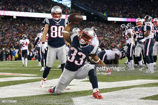 Dion Lewis of the New England Patriots celebrates after scoring a touchdown in the fourth quarter against the Houston Texans during the AFC...