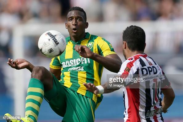 Dion Malone of ADO Den Haag Bruno Andrade of Willem II during the Dutch Eredivisie match between Willem II Tilburg and ADO Den Haag at Koning Willem...