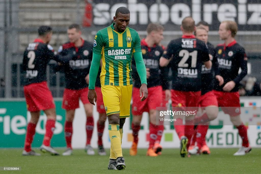 Dion Malone of ADO Den Haag during the Dutch Eredivisie match between Excelsior Rotterdam and ADO Den Haag at Woudenstein stadium on February 14, 2016 in Rotterdam, The Netherlands