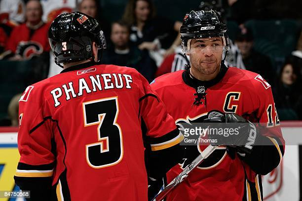 Dion Phaneuf and Jarome Iginla of the Calgary Flames skate against the Anaheim Ducks on February 7 2009 at Pengrowth Saddledome in Calgary Alberta...