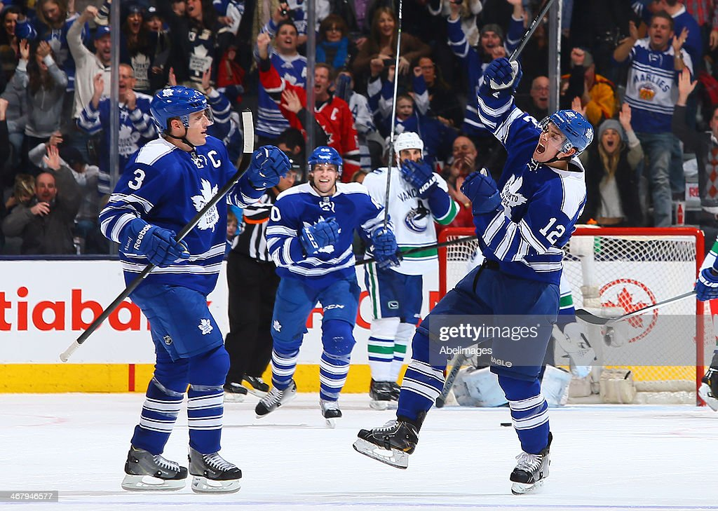 <a gi-track='captionPersonalityLinkClicked' href=/galleries/search?phrase=Dion+Phaneuf&family=editorial&specificpeople=545455 ng-click='$event.stopPropagation()'>Dion Phaneuf</a> #3 and <a gi-track='captionPersonalityLinkClicked' href=/galleries/search?phrase=Mason+Raymond&family=editorial&specificpeople=4521385 ng-click='$event.stopPropagation()'>Mason Raymond</a> #12 of the Toronto Maple Leafs celebrate Raymond's goal against the Vancouver Canucks during NHL action at the Air Canada Centre February 8, 2014 in Toronto, Ontario, Canada.