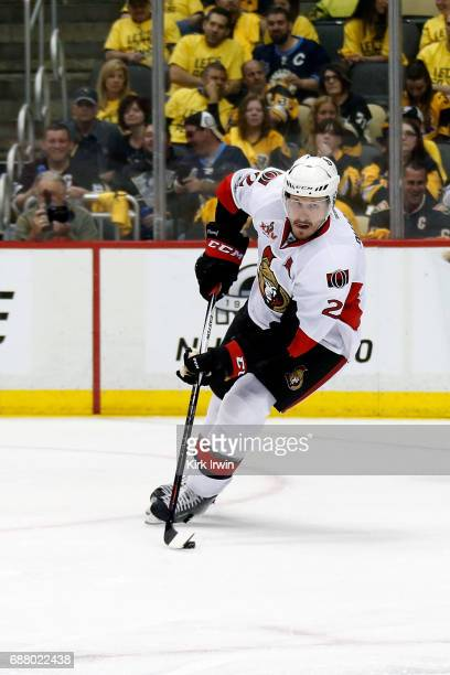 Dion Phaneuf of the Ottawa Senators controls the puck in Game Five of the Eastern Conference Final during the 2017 NHL Stanley Cup Playoffs against...