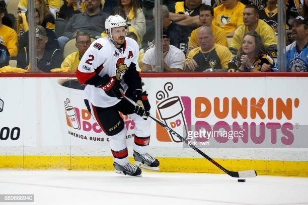 Dion Phaneuf of the Ottawa Senators controls the puck in Game Seven of the Eastern Conference Final during the 2017 NHL Stanley Cup Playoffs against...