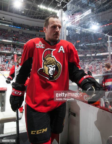 Dion Phaneuf of the Ottawa Senators leaves the ice after warmup prior to playing against the Pittsburgh Penguins in Game Six of the Eastern...