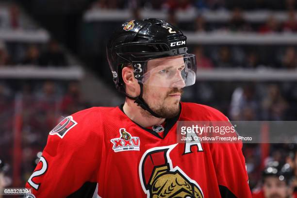 Dion Phaneuf of the Ottawa Senators looks on against the Pittsburgh Penguins in Game Six of the Eastern Conference Final during the 2017 NHL Stanley...