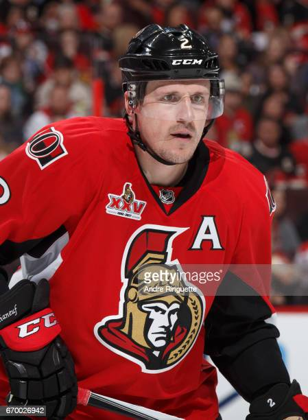 Dion Phaneuf of the Ottawa Senators skates against the Boston Bruins in Game Two of the Eastern Conference First Round during the 2017 NHL Stanley...