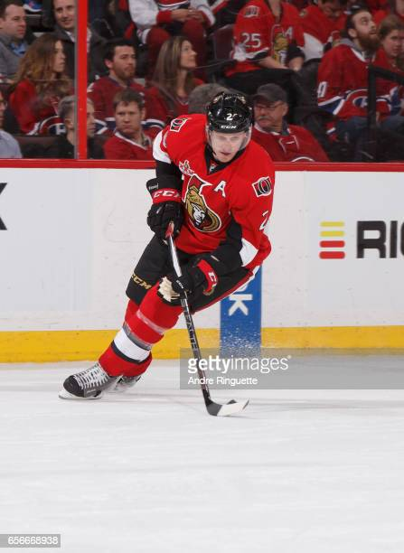 Dion Phaneuf of the Ottawa Senators skates against the Montreal Canadiens at Canadian Tire Centre on March 18 2017 in Ottawa Ontario Canada