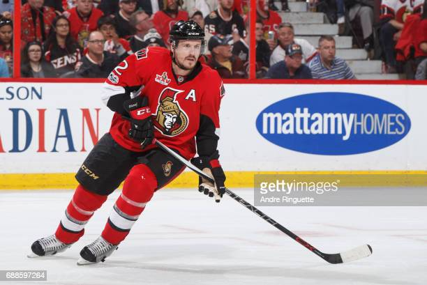 Dion Phaneuf of the Ottawa Senators skates against the Pittsburgh Penguins in Game Six of the Eastern Conference Final during the 2017 NHL Stanley...