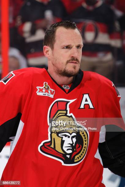 Dion Phaneuf of the Ottawa Senators skates during warmups prior to a game against the Pittsburgh Penguins in Game Four of the Eastern Conference...